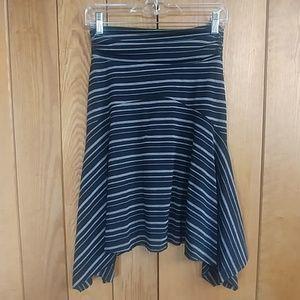 Rue21 Black Gray Stripe Rouched Stretch Midi Skirt